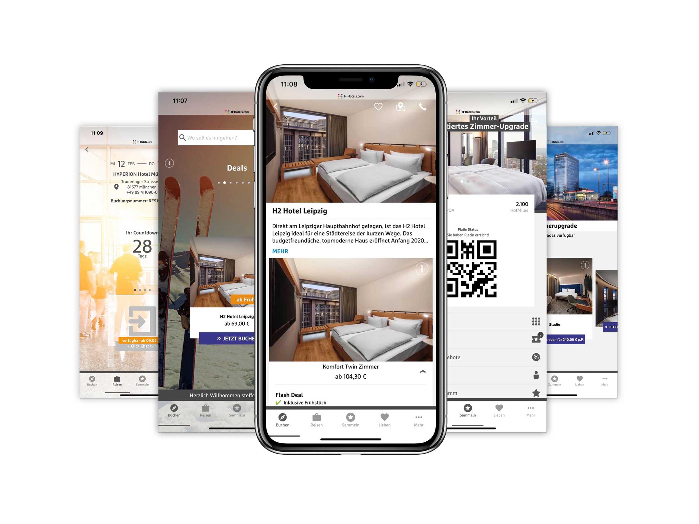 Screens der H-Hotels-App; hier im Mockup mit einem iPhone